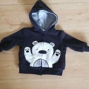 6- 9 month Polar Bear Zip Up Hoodie